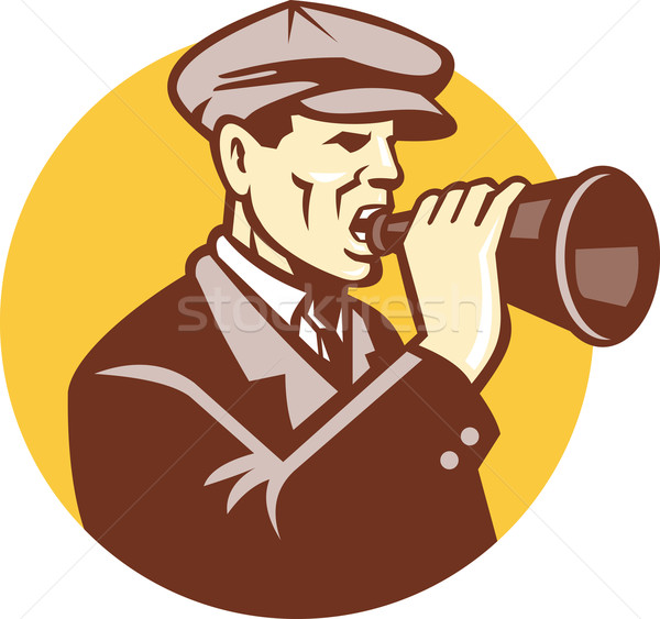 Man Shouting With Vintage Bullhorn Retro Stock photo © patrimonio