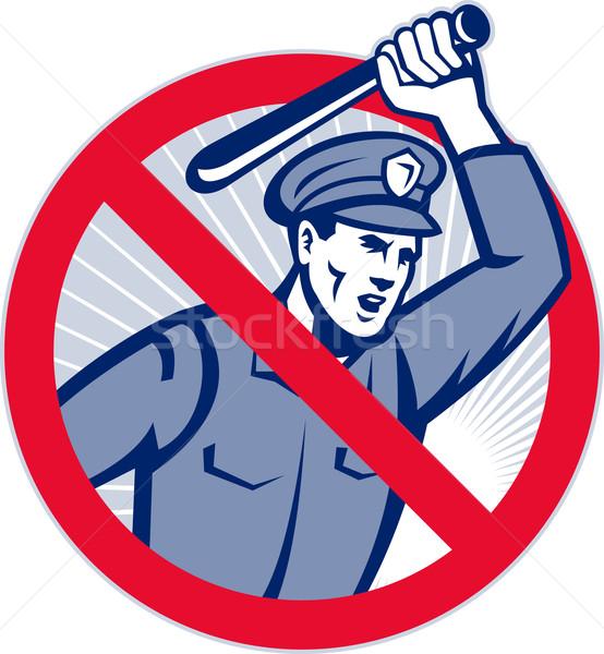 Police Brutality Policeman With Baton Stock photo © patrimonio
