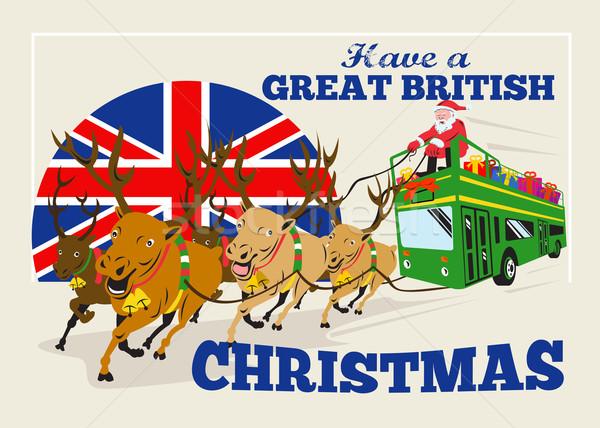 Great British Christmas Santa Reindeer Doube Decker Bus Stock photo © patrimonio