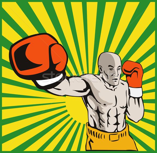 Boxer Boxing Jabbing Front Stock photo © patrimonio