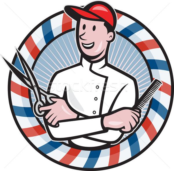 Barber With Scissors and Comb Cartoon Stock photo © patrimonio