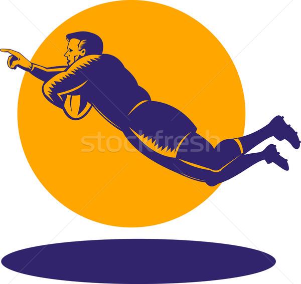 Rugby jugador buceo puntuación ilustración aislado Foto stock © patrimonio