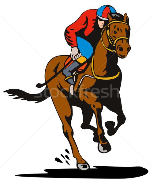 Ló zsoké versenyzés retro illusztráció izolált Stock fotó © patrimonio