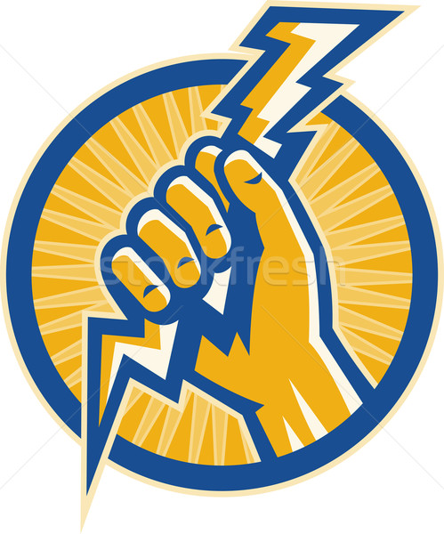 Hand hold a lightning bolt of electricity set inside a circle Stock photo © patrimonio