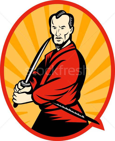 Samurai guerreiro espada ilustração indicação lado Foto stock © patrimonio