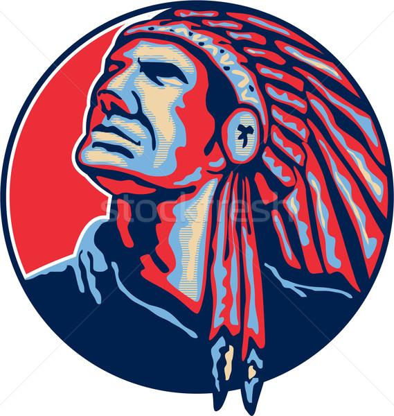Native American Indian Chief Retro Stock photo © patrimonio