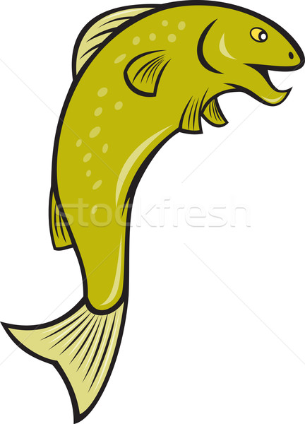 Cartoon Spotted Trout Fish Jumping Stock photo © patrimonio