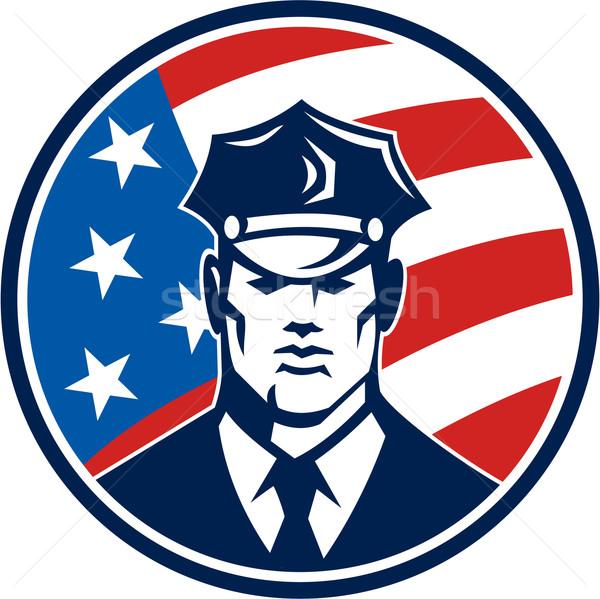 Amerykański policjant ochroniarz retro ilustracja komisarz Zdjęcia stock © patrimonio