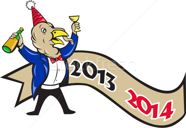 Happy New Year 2014 Turkey Toasting Wine Cartoon Stock photo © patrimonio