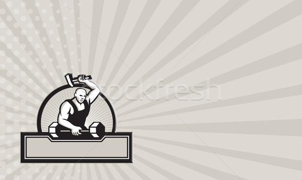 Kovács kalapács súlyzó mutat illusztráció szett Stock fotó © patrimonio