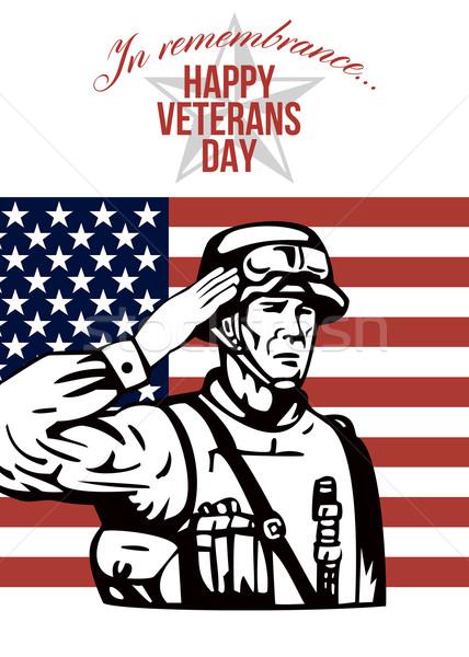 Amerikai nap üdvözlőlap poszter mutat illusztráció Stock fotó © patrimonio