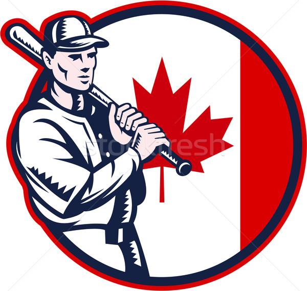 Canadian Baseball Batter Canada Flag Circle Stock photo © patrimonio