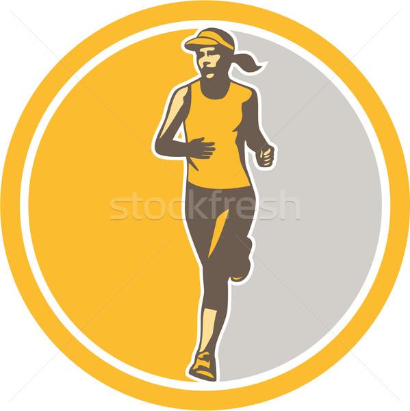女性 マラソン ランナー サークル レトロな 実例 ストックフォト © patrimonio
