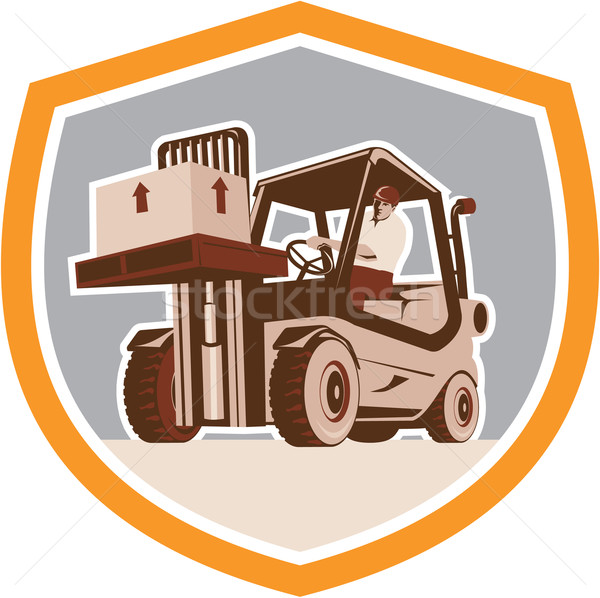 Forklift Truck Materials Handling Logistics Shield Stock photo © patrimonio