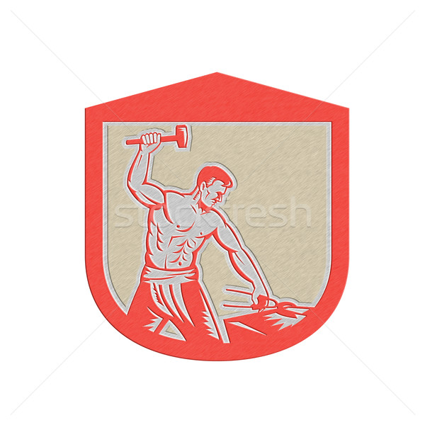 Metallic Blacksmith Worker Striking Sledgehammer Anvil Retro Stock photo © patrimonio