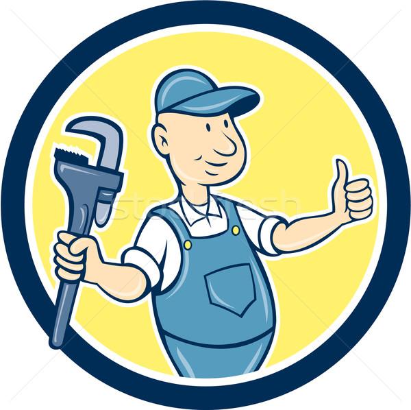 Plumber Monkey Wrench Thumbs Up Cartoon Stock photo © patrimonio