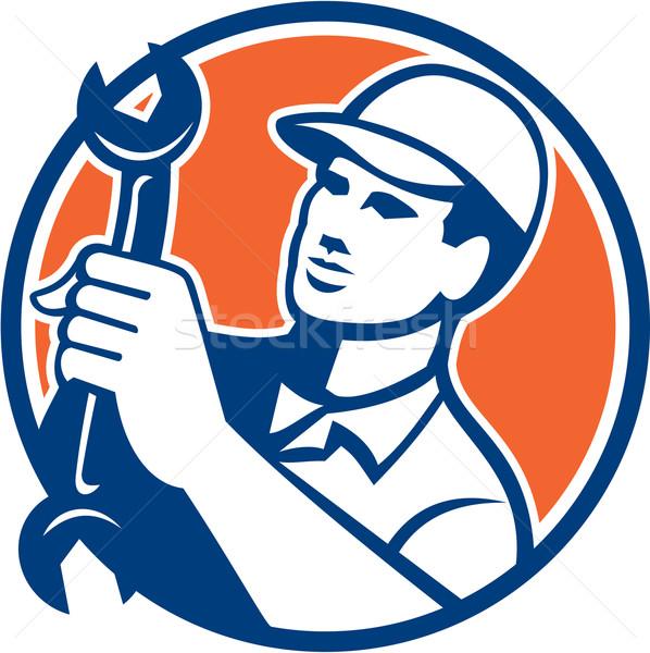 Mechanic Holding Spanner Wrench Circle Retro Stock photo © patrimonio