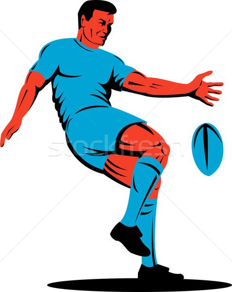 rugby player kicking ball side view Stock photo © patrimonio