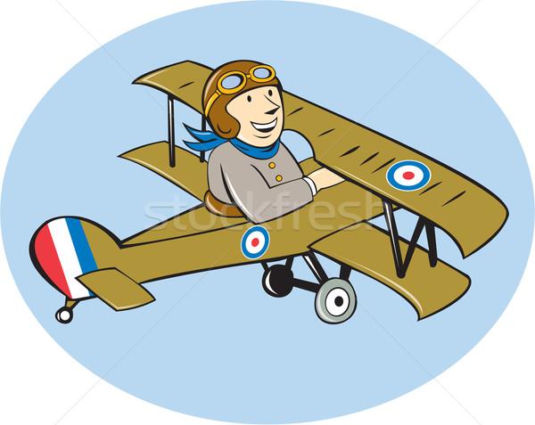 Kameel verkenner vliegtuig cartoon illustratie brits Stockfoto © patrimonio
