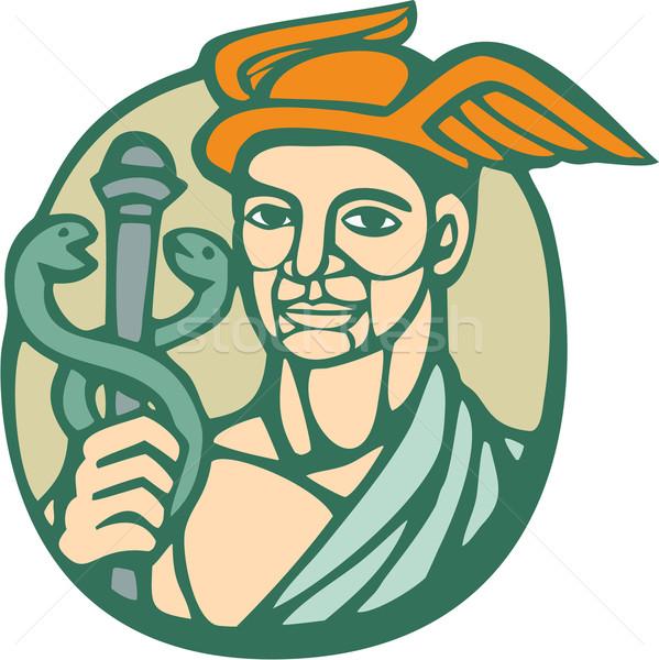 Hermes Holding Cadaceus Woodcut Linocut Stock photo © patrimonio
