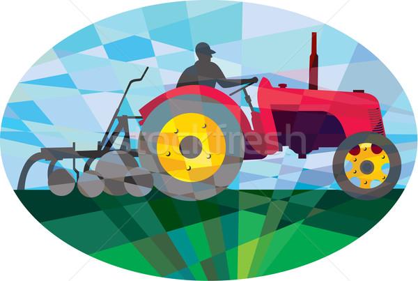 Farmer Driving Vintage Farm Tractor Oval Low Polygon Stock photo © patrimonio