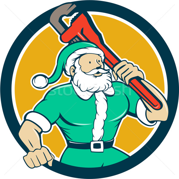 Muscular Santa Plumber Monkey Wrench Circle Cartoon Stock photo © patrimonio