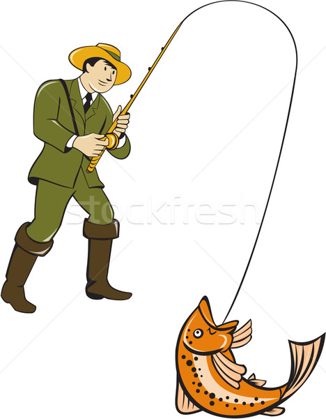 Fly Fisherman Catching Trout Fish Cartoon Stock photo © patrimonio