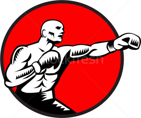 Boxer Jabbing Punching Circle Woodcut Stock photo © patrimonio
