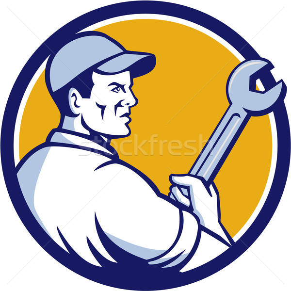 Mechanic Holding Monkey Wrench Circle Retro Stock photo © patrimonio