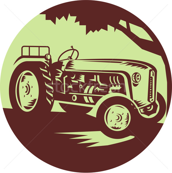 Vintage ferme tracteur cercle illustration Photo stock © patrimonio