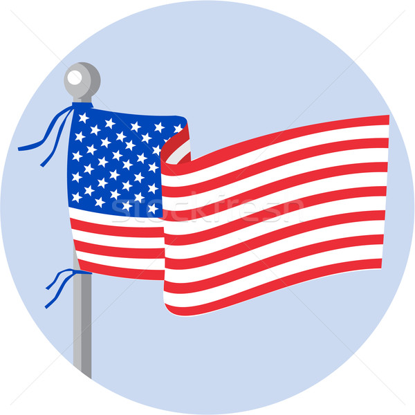 USA Flag Stars and Stripes on Flagpole Circle Cartoon Stock photo © patrimonio