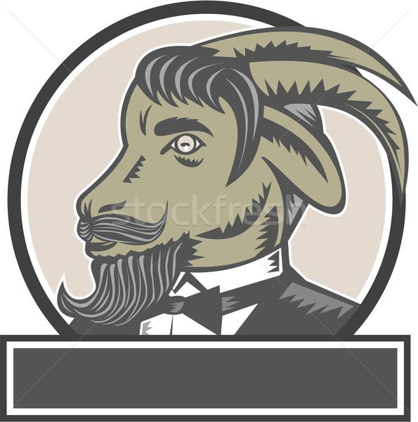 Goat Beard Head Circle Woodcut Stock photo © patrimonio