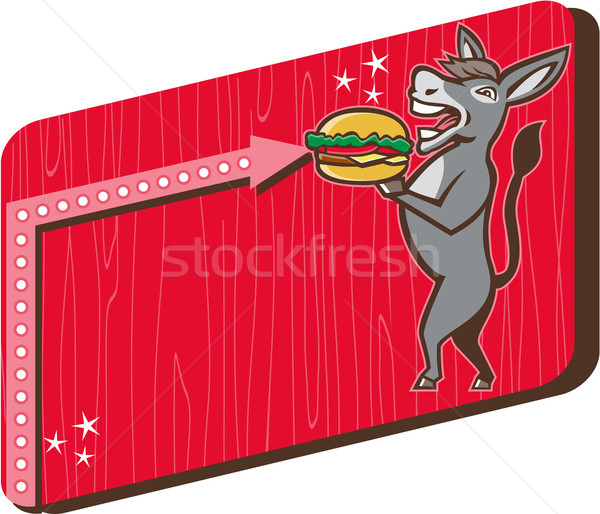 Donkey Mascot Serve Burger Rectangle Retro Stock photo © patrimonio