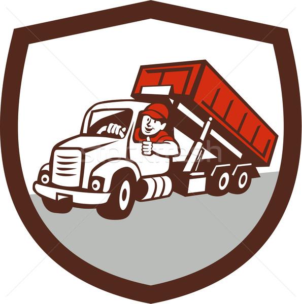 Tároló teherautó sofőr remek pajzs rajz Stock fotó © patrimonio