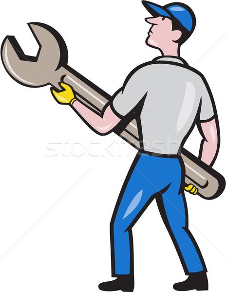 Mechanic Carrying Giant Spanner Cartoon Stock photo © patrimonio