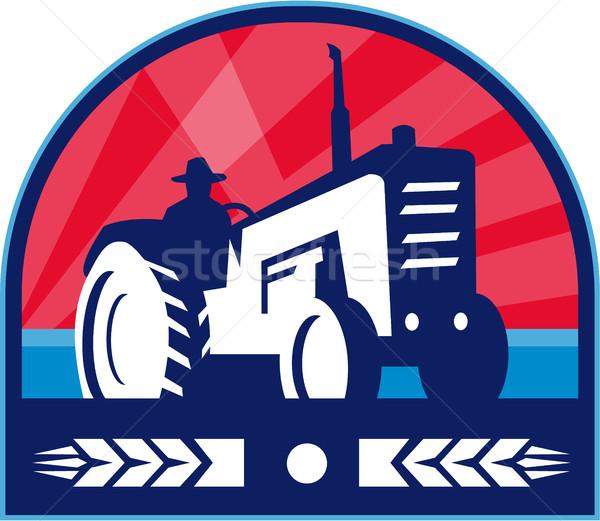Organikus gazda traktor búza címer retro Stock fotó © patrimonio