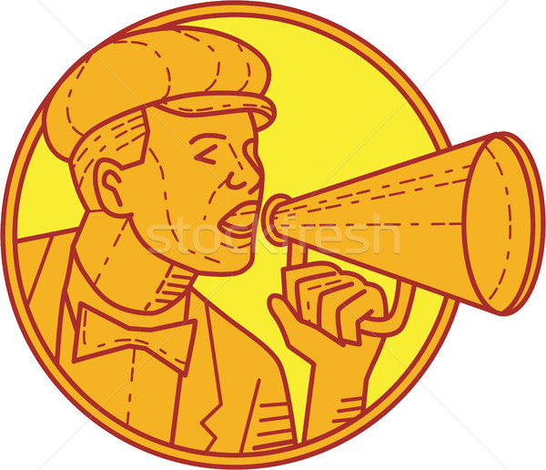 Movie Director Megaphone Vintage Circle Mono Line Stock photo © patrimonio