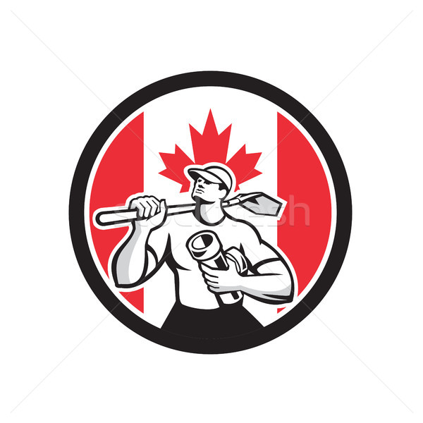 Stock photo: Canadian Drainlayer Canada Flag Icon