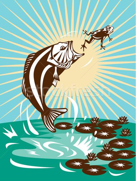 бас прыжки лягушка иллюстрация Лилия цветок Сток-фото © patrimonio