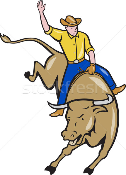 Rodeo Cowboy Bull Riding Cartoon Stock photo © patrimonio