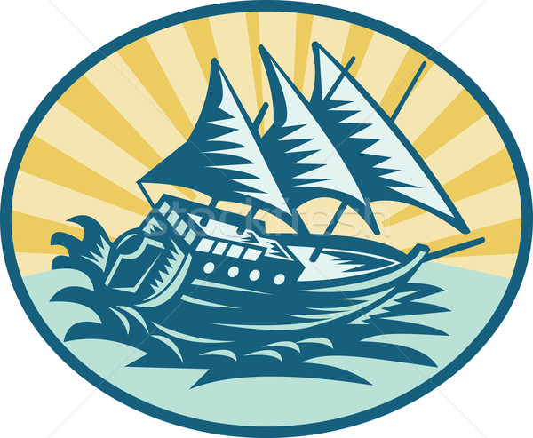 galleon historical ship sailing the big waves Stock photo © patrimonio