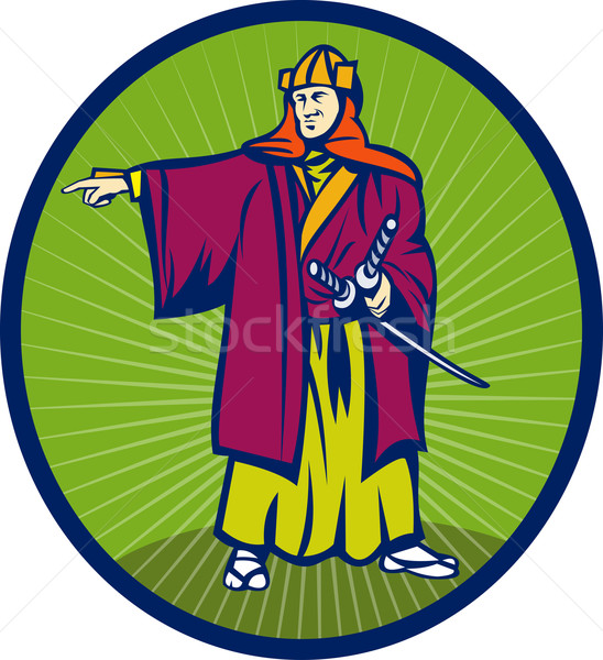 Samurai warrior with katana sword pointing side Stock photo © patrimonio