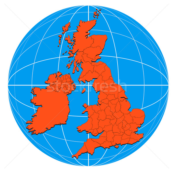 Globe British Isles Map Stock photo © patrimonio