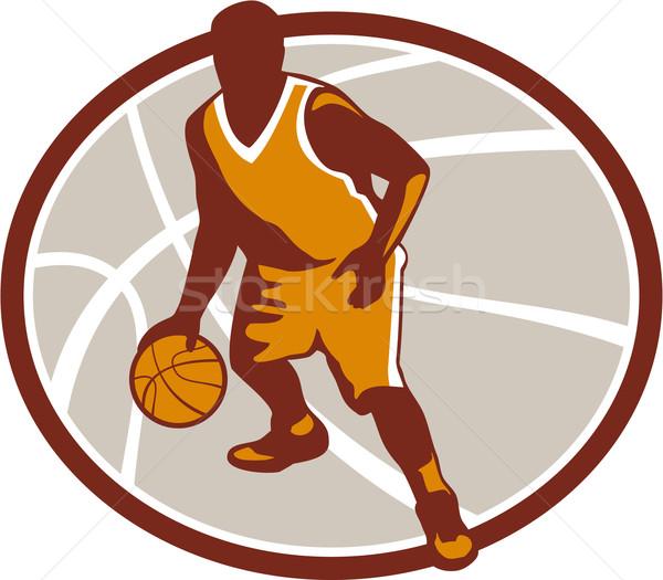 Kosárlabdázó labda ovális retro illusztráció szemben Stock fotó © patrimonio