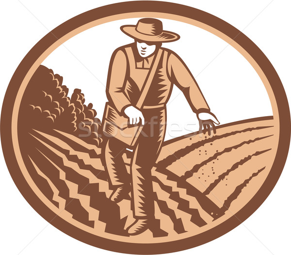 Organic Farmer Sowing Seed Woodcut Retro Stock photo © patrimonio