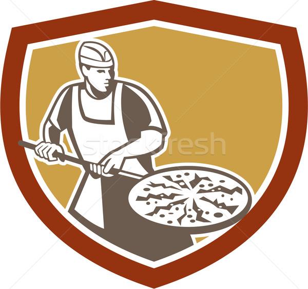 Pizza Maker Baking Bread Shield Retro Stock photo © patrimonio