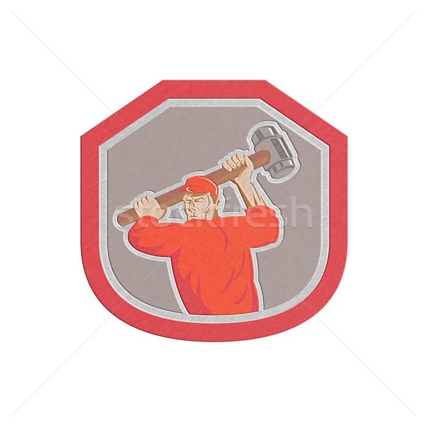 Metallic Union Worker Striking Smashhammer Shield Retro Stock photo © patrimonio