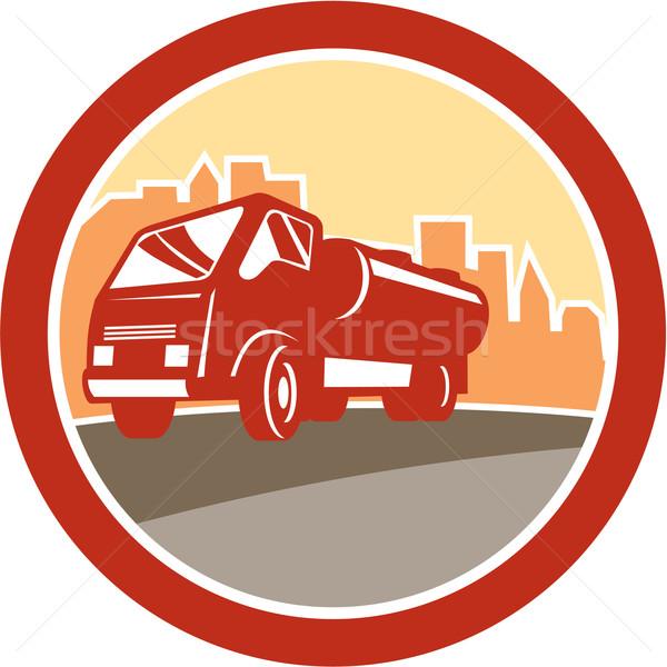 Szennyvíz teherautó egység ovális retro illusztráció Stock fotó © patrimonio