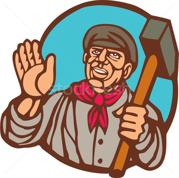 Union Worker With Sledgehammer Linocut Stock photo © patrimonio