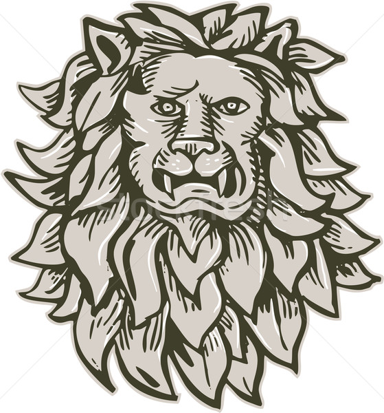 Angry Lion Big Cat Head Etching Stock photo © patrimonio